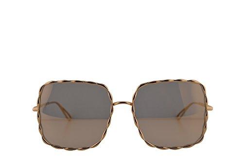 Elie Saab ES 003 / S Gafas de sol w / 56mm Gris Bronce Espejo Lente J5GJO ES003S ES003 / s Es 003s mujer Chapado en oro Grande