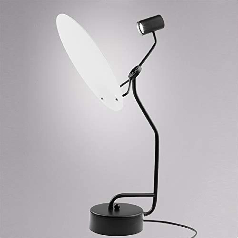 Schreibtischlampe LED energiesparende Augenpflege Licht Studienbüro Schlafzimmer Moderne einfacher Nachttischlampe Acrylic Sheet Schwarz gestrichene Schmiedeeisen Kreative Vollmond Tabellen-Lampe