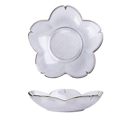 FYstar Kirschblüten-Teller, japanische Glasschale, Salatteller, Obstteller, Dessertschale, Dip-Teller, Geschirr