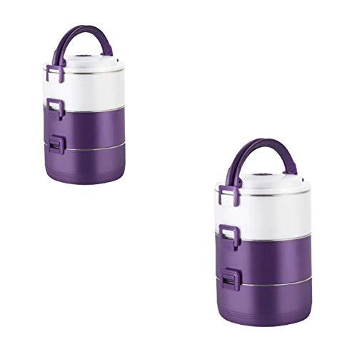 Edelstahl Insulated Lunch Box / Layered herausnehmbar und waschbar, hat jede Schicht einen Dichtungsring, verdickte Buckle, Das Paket beinhaltet zwei Lunch-Boxen, Geeignet for alle Menschen lalay