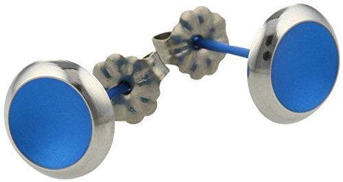 Ti2 Titanium Womens Stud Earrings - Navy