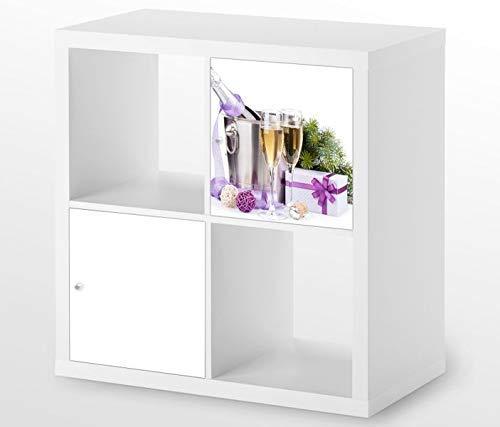Möbelaufkleber für Ikea KALLAX / 1x Türelement Sekt Glas Wein Gläser Kat4 Geschenk Flasche Aufkleber Möbelfolie sticker (Ohne Möbel) Folie 25D561