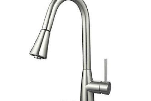 Hardware House LLC 16-3002 Single Handle Gooseneck Style Kitchen Faucet, Satin Nickel