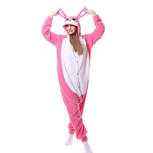 Pijama 6 Modelos de Conejos Onesie Kigurumis Rosa Blanco Polar Fleece Animal Pijama Conejito Disfraz Carnaval Vacaciones Traje Invierno Ropa de Dormir-Conejo Rosa_L.