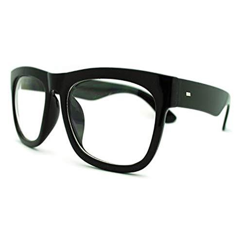 Black Oversized Square Glasses Thick Horn Rim Clear Lens Frame