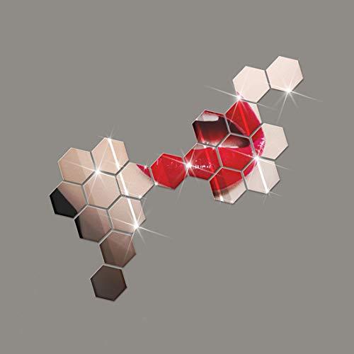 shuweier 24 Piezas Hexagonales Decorativas de Vinilos para Espejos Desmontable Pegatina de Pared DIY Hogar Moderno Sala Dormitorio Decoración Plata