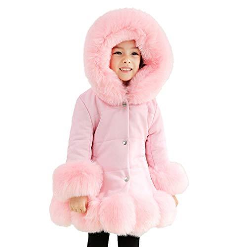 fuxinhe Baby Kids Fashion Hooded Outwear Große Mädchen Kunstpelz Oberteile Kunstleder Langarm Warm Windjacke Einfarbig Übergroße Flauschige Plüsch-Knopf-Taschenjacke