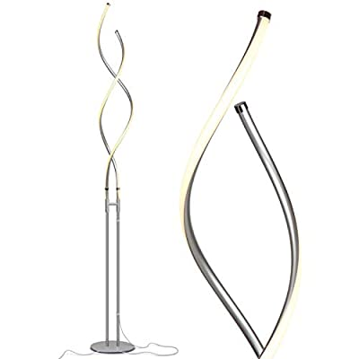 """Brightech Embrace - Modern LED Spiral, 2 in 1 Lamp for Living Rooms - Contemporary Bright Lighting, Standing 40"""" Tall End Table Lamp Adjustable to 66"""" Floor Lamp - Dimmer Built In - Black"""