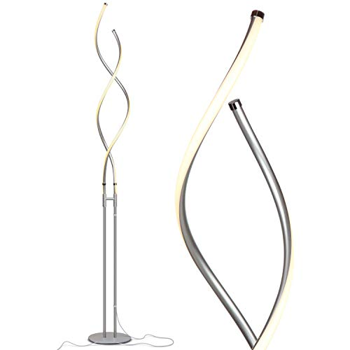 Brightech Embrace - Modern LED Spiral, 2 in 1 Lamp for Living Rooms - Contemporary Bright Lighting, Standing 40' Tall End Table Lamp Adjustable to 66' Floor Lamp - Dimmer Built In - Silver