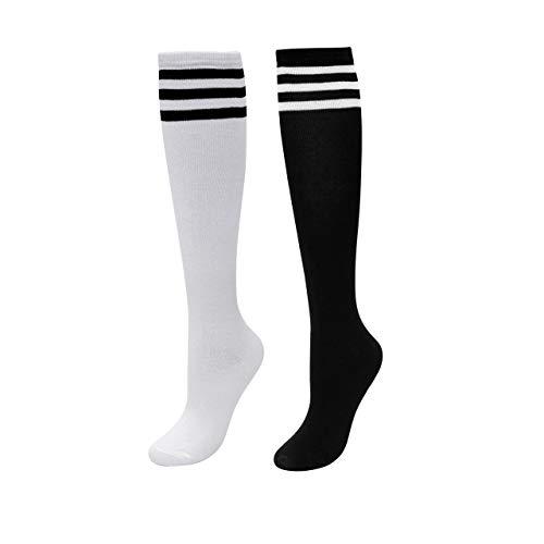 CHIC DIARY Kniestrümpfe Damen Mädchen Fußball Sport Socken College Cheerleader Kostüm Strümpfe Cosplay Streifen Strumpf, 2 Paar(schwarz+weiß Schwarz Streifen), Einheitsgröße