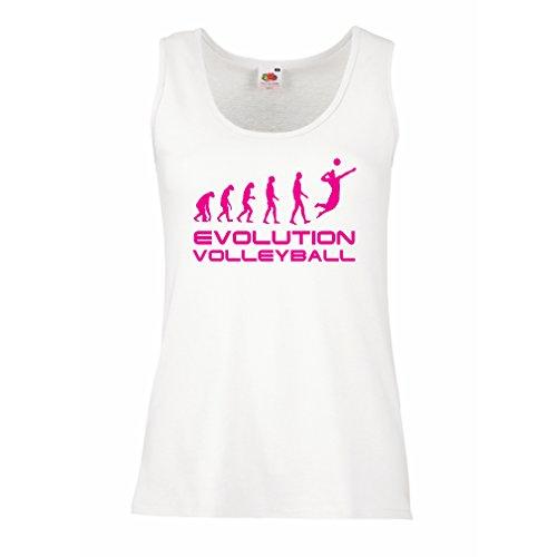 lepni.me Camisetas sin Mangas para Mujer La Historia y la evolución del Juego de Voleibol (Small Blanco Magenta)