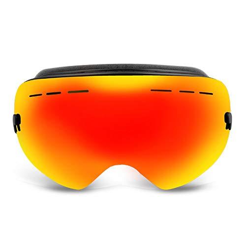 AUEDC Skibrille, Männer und Frauen OTG Skibrille Neuester Ski Brillen Snowboardbrillen UV400 Anti-Fog-windundurchlässige für Skihelm Kompatibel,Rot