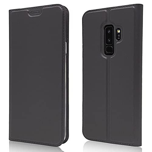 COPHONE - Cover Compatibile Samsung Galaxy S9 PLUS in Pelle Nera. Custodia a portafoglio in pelle con chiusura magnetica per Galaxy S9 PLUS