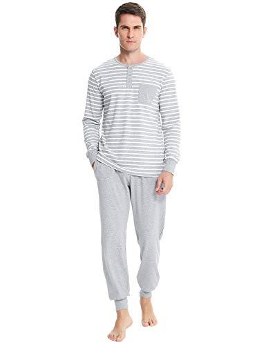 Irevial Pijamas Hombre Invierno Ropa de Dormir de 100%  Algodon de Manga...
