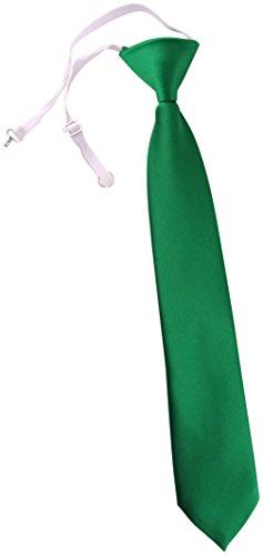 TigerTie Kinderkrawatte grün Uni - Krawatte vorgebunden mit Gummizug