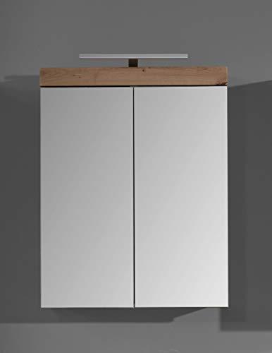 trendteam smart living Badezimmer Spiegelschrank Spiegel Amanda, 60 x 77 x 17 cm in Asteiche / Weiß Hochglanz mit viel Stauraum inklusive Beleuchtung