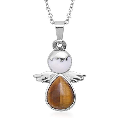 TJC Angel Necklace for Womens Size 20 Inches Yellow Tiger's Eye Jewellery Gift for Girlfriend/Wife/Mother in Stainless Steel