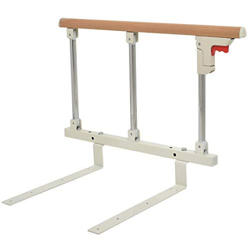 Cific ベッドガード 折りたたみ式 介護 転落防止 手すり 木目調 (3段)