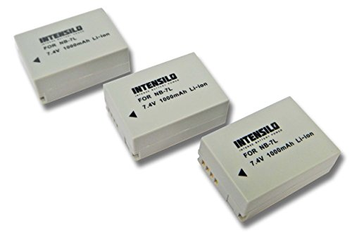 INTENSILO 3X Li-Ion batería 1000mAh (7.4V) para cámara de Video, videocámara Canon Powershot G10, G11, G12, SX30 IS por NB-7L.