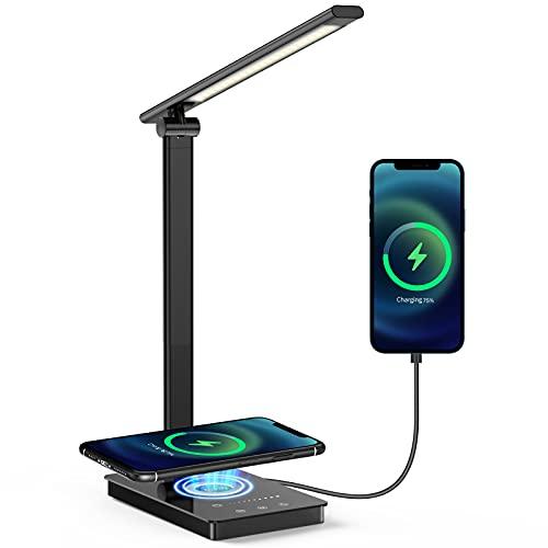 Schreibtischlampe, Augenschonende LED Schreibtischlampe mit Wireless Charger und USB, Tischlampe mit 5 Farb und 9…