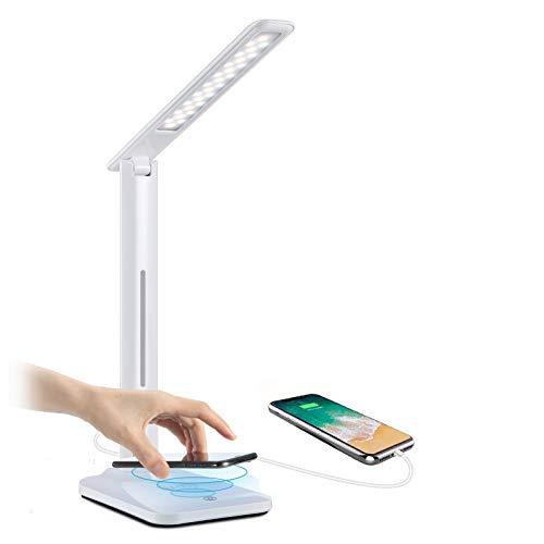 Yisun - Lámpara de escritorio LED táctil y plegable, lámpara de mesa con base de cargador inalámbrico Qi y puerto USB, lámpara de noche regulable, con 3 modos de iluminación, 6 niveles de luminosidad