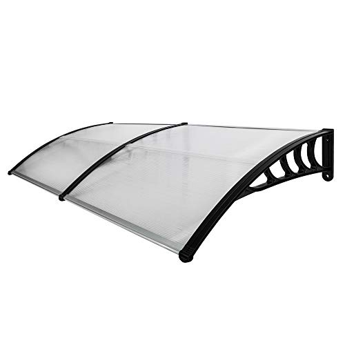 LWAN3 Eaves Canopy, Transparent Door Rain Awning with Black Bracket, Household Rain Shelter Cover(190x100cm/74.8x39.4inch)