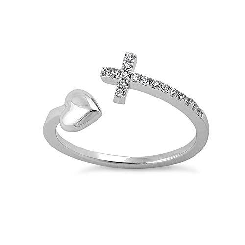 Savlano 18K White Gold Plated Round Cut Cubic Zirconia Sideways Cross and Heart Open Band Ring Women's Girl's Religious Ring (7)