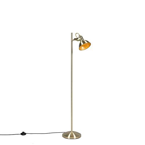 QAZQA Landhaus/Vintage/Rustikal Industrielle Stehlampe Gold/Messing/Messing 1-flammig - Tommy/Innenbeleuchtung/Wohnzimmerlampe/Schlafzimmer Stahl Länglich LED geeignet E14 Max. 1 x 40 Wa