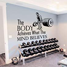 Vivityobert Calcomanía de pared con citas inspiradoras Sport The Body Achieves What The Mind Believes for Gym Bedroom Decal Decor