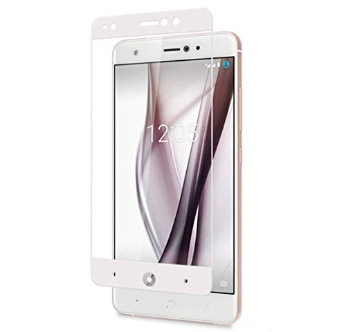 iCoverCase BQ Aquaris X Screen Protector Glass [Full Screen Coverage][2.5D Edge] HD-Clear 9H Hardness Tempered Glass Screen Protector (2-Pack)-White