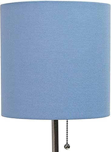 Blue 19.29,Brushed Steel//Blue Stick Lamp with Charging Outlet Limelights LT2024-BLU Fabric Shade New