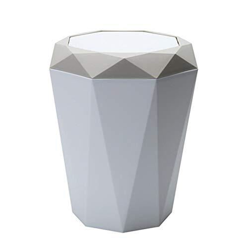 Kentop - Papelera con tapa basculante para mesa/oficina o escritorio, diseño geométrico