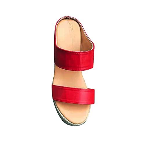 2021 Sandalias Mujer Verano Elegante Zapatos de plataforma Cuña Playa Zapatillas Moda Tejido de paja Chanclas Mujer Sandalias de Punta Abierta casual Fiesta Roman Tacones Altos Sandalias