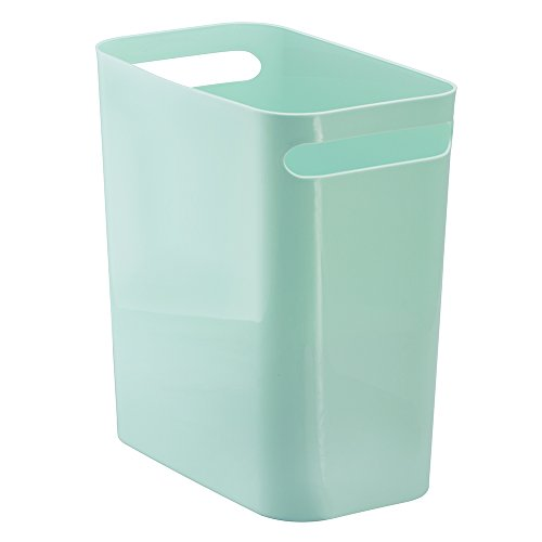 Price comparison product image iDesign Una Rubbish Bin with Handles,  Plastic Wastepaper Bin for Office,  Kitchen or Bedroom,  MInt Green