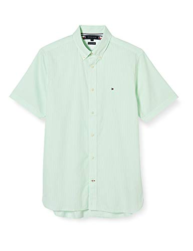 Tommy Hilfiger Herren Classic Twill Stripe Shirt S/s Hemd, Grün, S