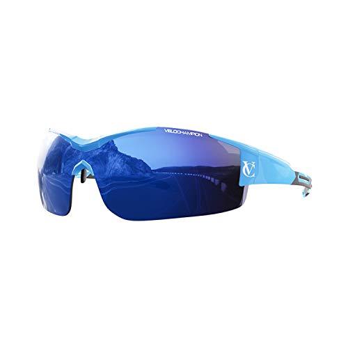 VeloChampion Vortex zonnebril, blauw frame, blauw/geel/heldere glazen, incl. etui