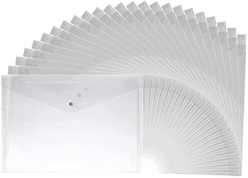 RosieLily 20 Stks A4 Letter Size Waterdichte Transparante Poly Envelop Met Snap-knopsluiting, Project Envelop Map, Wit