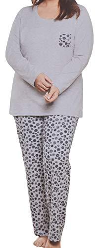 Schlafanzug Pyjama Nachtwäsche Damen Langarm 2 teilig Baumwollmischung Grau Hellgrau Melange (46)