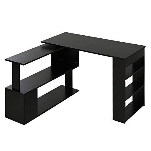 HOMCOM Bureau Informatique multimédia modulable bibliothèque intégrée + étagère 3 Niveaux Panneaux Particules Noir