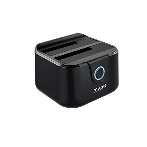 TooQ TQDS-802B - Dockingstation Anschlussbasis mit doppeltem SATA Schacht für 2,5 und 3,5 Zoll Laufwerke, USB 3.0 und USB 2.0-HOST, Offline CLONE Funktion, Farbe Schwarz