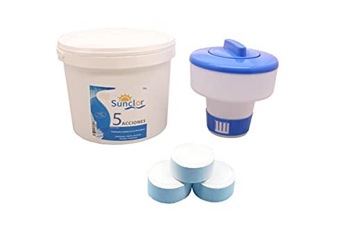 Cloro 5 acciones Pastillas mas dosificador Cloro, Cloro para Piscina 5 KG, desinfectante, algicida, bactericida, floculante y estabilizante mas dispensador Cloro