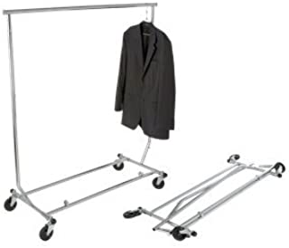 Classic Store Fixtures True Supreme Commercial Grade Heavy Duty Collapsible Clothing Garment Salesmans Retail Dispaly Rack, Chrome