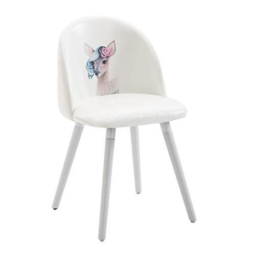 ZYXF Sedie Pranzo Nordico Creativo Rosa Bello Flanella Spugna Posto A Sedere Gambe in Legno Massello Sgabello Bianca Bellezza Spogliatoio (Color : D)
