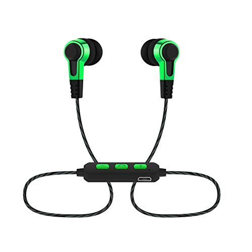 Yowablo Hängender Hals Drahtgesteuerter In-Ear-Bass Kopfhörer mit guter Klangqualität ( Grün )