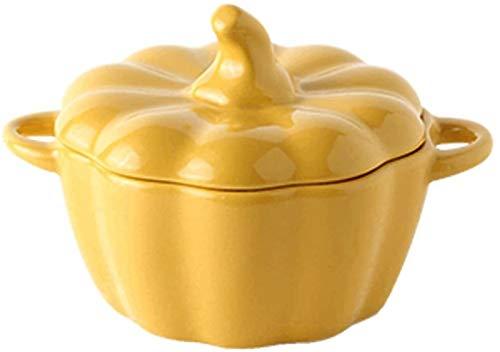 XUEXIU Porcelana Premium Tazón de cerámica con Tapa Cubiertos Calabaza Plato de Arroz Occidental Soup Bowl Postre del Cuenco de Fruta Amarillo y Blanco Diámetro for Catering and Home (Color : Yellow)