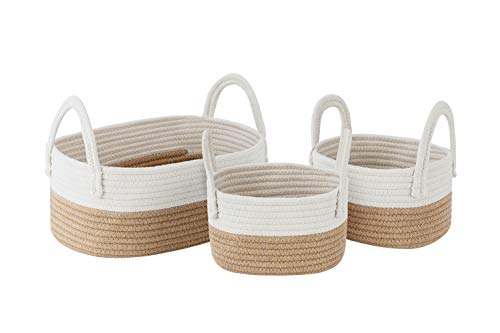 UBBCARE Cotton Rope Storage Baskets Storage Bins Organizer Decorative Woven Basket for Clothes, Toy, Makeup, Books, Set of 3