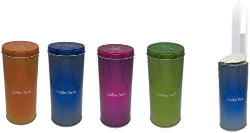 Kaffeepaddose Metallic Orange Blau Pink Grün mit Padheber 4 Stück + 4 Padheber