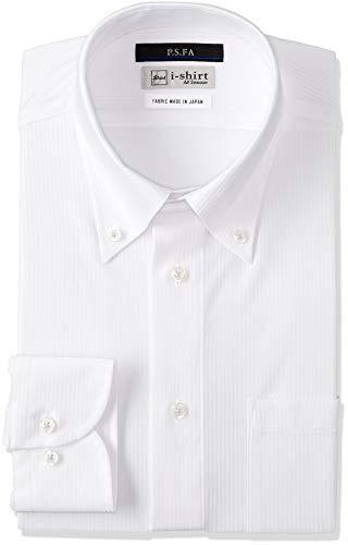 [アイシャツ] i-shirt ボタンダウン 完全ノーアイロン ストレッチ 超速乾 スリムフィット 長袖 アイシャツ ワイシャツ メンズ ホワイト 清涼生地 長袖ボタンダウン シャドーストライプ M151180136 日本 L84(首回り41cm×裄丈84cm) (日本サイズL相当)