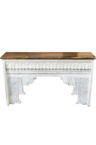 Orientalische Konsole Sideboard schmal Hadidza Weiss 150cm | Orient Vintage Konsolentisch orientalisch handgeschnitzt | Landhaus Anrichte aus Holz massiv | Asiatische Deko Möbel aus Indien