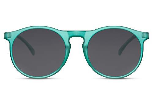 Cheapass Gafas de Sol Unisex Redondas Inspiración Diseñador Mate Verde Transparente Montura con Lentes Oscuras UV400 protegidas Hombres Mujeres